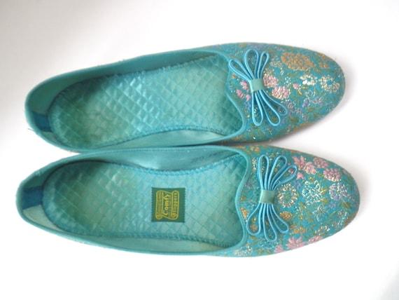 Daniel Green Slippers Vintage Brocade Size 7 5 Bedroom Boudior