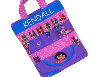 Art Travel Tote - Made From Dora the Explorer Fabric - Personalized! - (Includes All Supplies Shown)