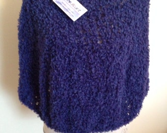 Wool Blend Hand Knit Poncho in Blue