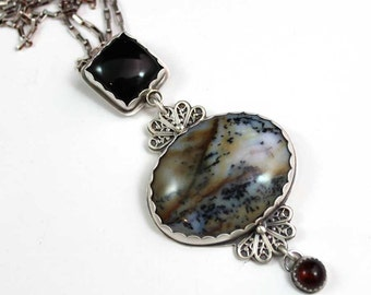 Moose Tracks Metal Work Pendant Sterling Silver Necklace