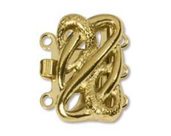 Gold Plated Elegant Elements Serpentine 3 Strand Box Clasp