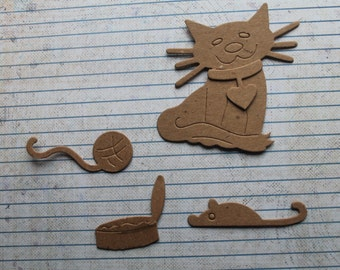 3 Kitty Cat Bare chipboard die cuts with collar, yarn ball, tuna can and mouse 15 pieces total