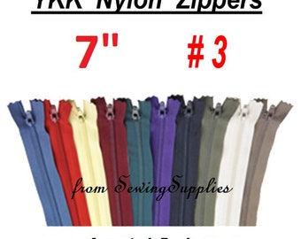 "27 ZIPPERS - 7"" - YKK Nylon Zippers - 7 inch -Special Promotion, Assorted Package"