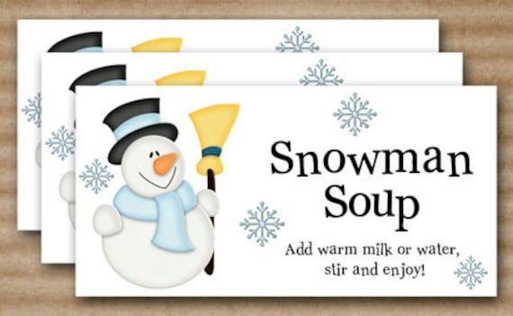 Snowman Soup Christmas Treat Bag Topper - INSTANT DOWNLOAD - Printable ...