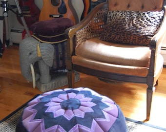 Navy Blue and Lavender Pouffe, reclaimed denim, handmade in the USA