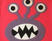 3 Eyed Monster Applique Tee