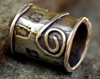 Primitive Art Slider Bead in Sterling Silver