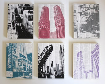 LAST CHANCE SALE - Chicago Artwork Set of 6 / Chicago Skyline Prints / Chicago Art / Chicago Ready to Hand Art / Chicago Theater