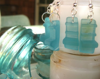 Beachglass inspired earrings aqua mason jar lip ONE PAIR peirced earrings Broken Glass.