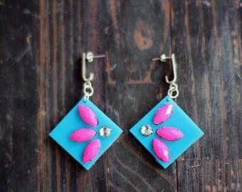 Turquoise  Earrings,Plexiglass Jewelry,Lasercut Acrylic,