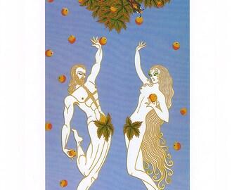 Vintage Erte Illustrated Print - Adam And Eve & Venus - Color Plate