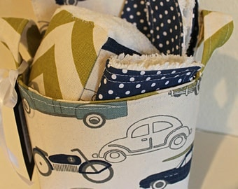 Vintage Auto Baby Gift Basket--- Burp Cloth, Bib, Rattle Block, Wash Cloth Set and Fabric Basket