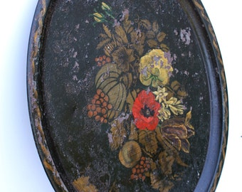 Vintage Oval Black Metal Hand Painted Tole Serving Tray