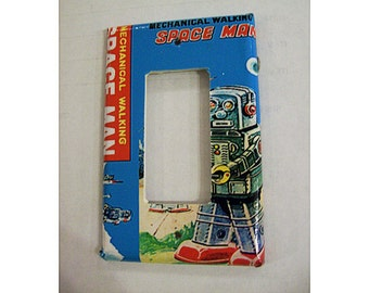 retro robot rocker switch plate 1950's vintage tin toy outer space kitsch dimmer switch cover