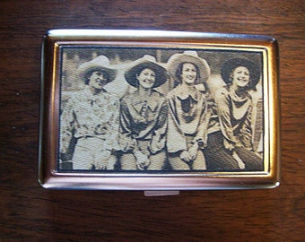 retro cowgirl metal wallet vintage cigarette case rockabilly business card case kitsch