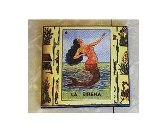 Loteria coasters retro Spanish Mexico pop culture folk art kitsch devil moon mermaid