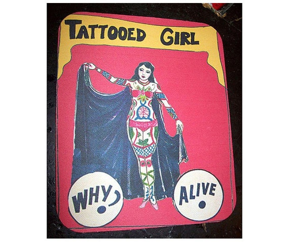 Pin up tattoo mouse pad freak sideshow show banner retro pin up girl rockabilly kitsch