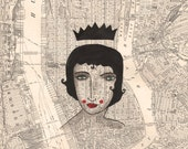 Queen of NYC, Archival Print-Archival Art Print, Nyc  Map Print,-Queen of Manhattan, NYC Art Print