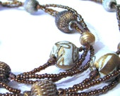 Vintage fabric and Fresh Water Pearl beaded Necklace SET . Soft Blue and Bronze
