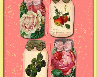 FruiT and Flowers In A Mason Jar Vintage Art Hang/Gift Tags-INSTaNT DOWNLoAD- Printable Collage Sheet Download JPG Digital File