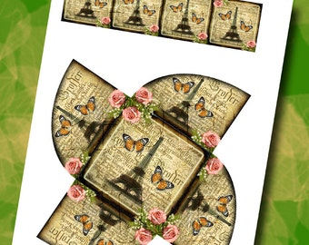 CHaRMiNG French Collage-Gift/Favor Box TeMPLaTE withTagS -Create Your Own Gift Boxes- Printable JPG Digital File- New Lower Price