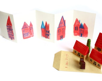 Illustrated Art Zine - Mini concertina book / zine - A Small Village