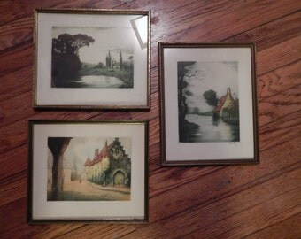 Three ColoredVintage  Etchings , 2 are Signed