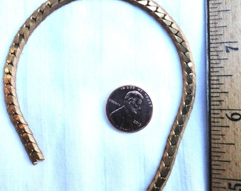 6 Feet of Vintage Brass Band/Snake Chain, Textured Sides, Just Over 5mm Wide