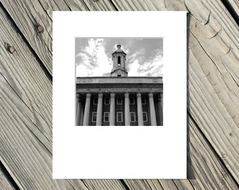 Black and White Penn State Photo, Old Main Picture, PSU, Nittany Lions, Architecture, 5x5 inch photo matted to 8x10 inches