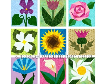 9 Flower Quilt Patterns, paper piecing quilt patterns, instant download PDF flower patterns flower quilt block patterns garden quilt pattern