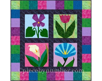 Morning in May: 4 Paper Pieced Flower Quilt Block Patterns pack, PDF paper piecing quilt patterns, flower quilt patterns, garden quilt
