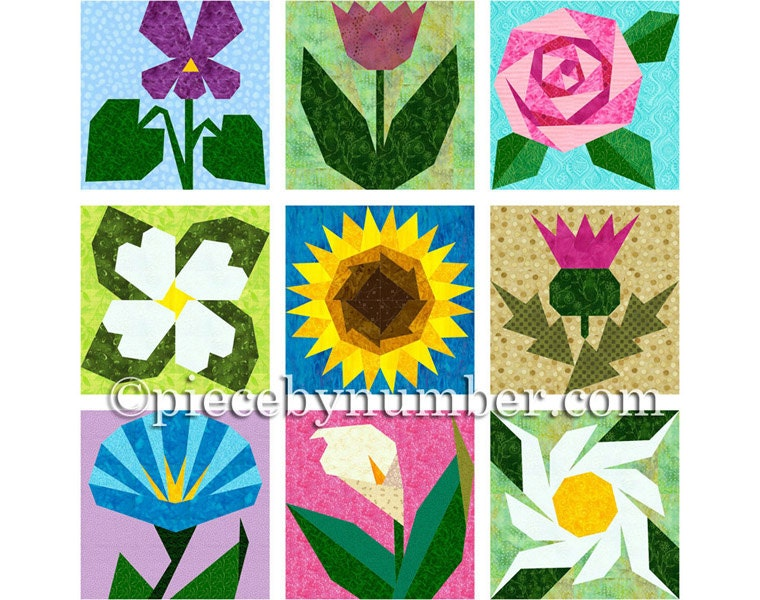 9 Flower Quilt Patterns paper piecing quilt patterns instant
