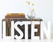 Vintage LISTEN Letters - White Plastic Letters