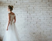 Gold Sequined Cap Sleeved Floor Length Tulle Gown - Dreams Do Come True by Ouma