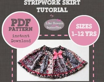PDF pattern Instant Download stripwork SKIRT kids girls sizes 1-12 yrs