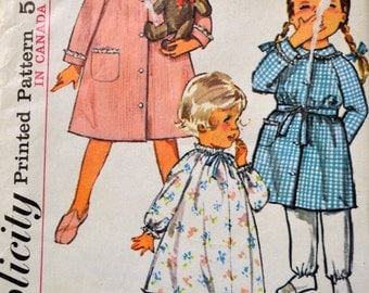 Vintage Sewing Pattern Simplicity 5762 Toddler Girls' Nightgown Robe Size 4 COMPLETE