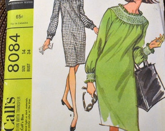 Vintage 60s Sewing Pattern McCall's 8084  Dress with Smocking Size 14 Bust 34 Inch Uncut Complete