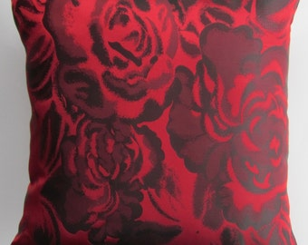 Red Pillow Cover -- Black and Red Rose Throw Pillow Cover -- 16 x 16