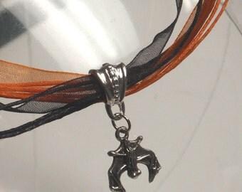 Halloween bat necklace - orange black ribbon neck cords