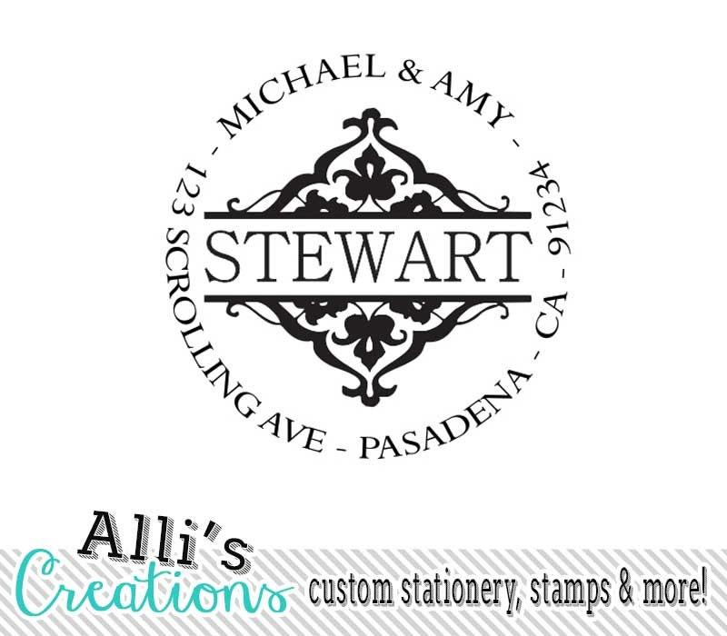 ornate round return address stamp self inking address label