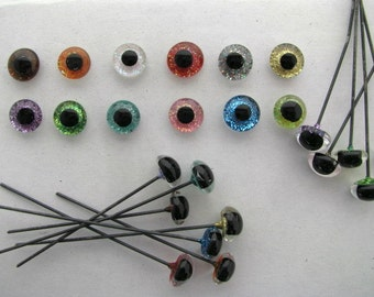 12 pair 9mm or 10mm or 11mm or 12mm or Sparkle Painted Glass EYES on Wire needle felting, polymer clay, sculptures, carving ( SRG-222 )
