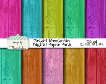 Bright Tropical Wood Digital Paper Backgrounds Pack - 12x12  - Aqua, Pink, Purple, Mint, Orange - INSTANT DOWNLOAD