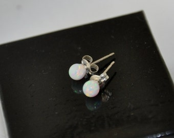 4mm Ball Stud Post earrings, Opal Earrings, Sterling Silver Earrings,  Opal Jewelry, 925 Sterling Silver