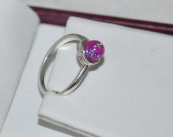 Opal ring, Sterling Silver Ring, Opal ball ring, Purple, Blue, White, Hot Pink, kelly Green Opal, size 7.25, 7.5  Opal Jewelry, 6mm stone