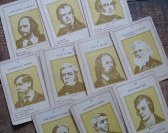 Vintage Colorful Authors Cards - Set of 10 - Illustrations of Famous Novelists and Writers
