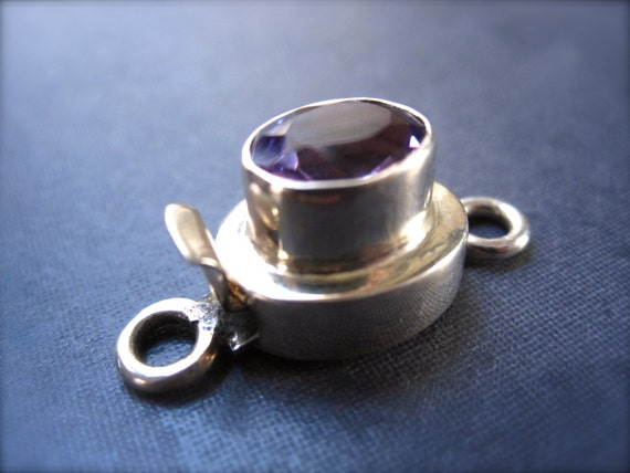 Solid Sterling Silver Box Style faceted Amethyst Clasp - faceted stone setting - purple