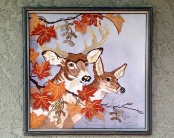 Vintage Deer Embroidery Fall Woods Scene