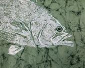 Largemouth Bass GYOTAKU Fish Lake house cottage art Original 22x15 on handmade paper by Barry Singer
