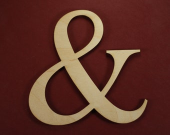 Ampersand Shape Unfinished Wood Laser Cut Shapes Crafts Variety of Sizes