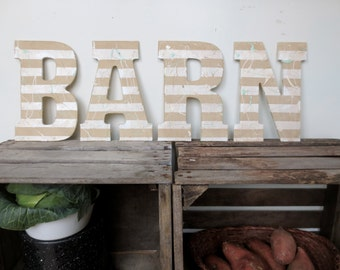BARN SIGN - Farm Stable Decor - Country Sign - Weathered Barn Sign - Rustic Farmhouse -  Letter Sign -  Wall Decor
